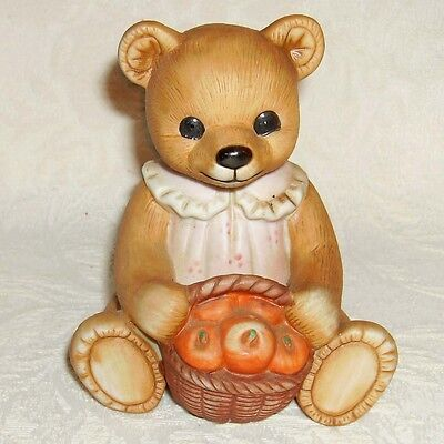 HOMCO Girl Bear with Basket of Apples Figurine 1405 Home Interiors