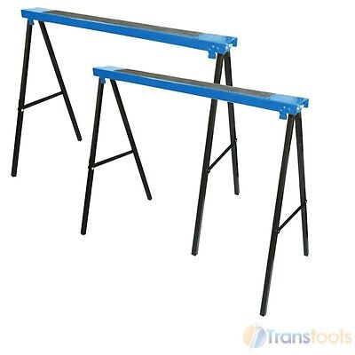 Silverline Metal Saw Horse Twin Pack Trestles 100kg Load Woodworking 783160