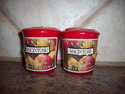 NEW LOT OF 2 YANKEE CANDLE MACINTOSH VOTIVES SAMPLERS CANDLES