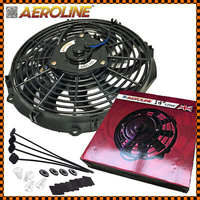 "14"" Aeroline® Electric Radiator 12v Cooling Fan Curved Blade UNIVERSAL FITTING"