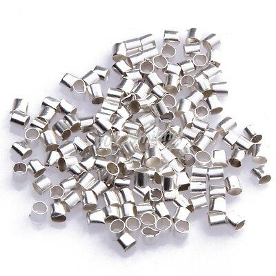 500pcs Silver Plated Tube Crimp End Spacer Beads 2mm For Necklace Accessories