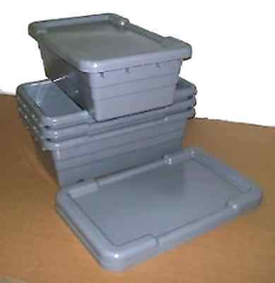 QTY (4) - GRAY PLASTIC LUG / TOTE w/ LIDS FOR MEAT - SAUSAGE - BULK FOOD
