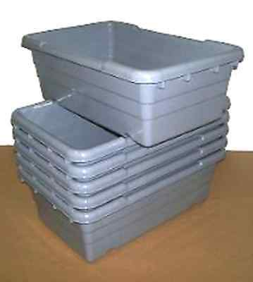 Qty (6) - Gray Plastic Lug / Tote For Meat - Sausage - Bulk Food