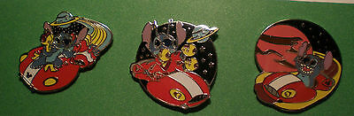 WDW Cast Lanyard Complete Set of  Stitch On a Flying Saucer Series 4 Pin Pins