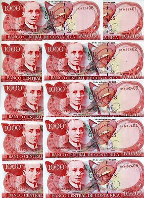LOT Costa Rica, 10 x 1000 Colones 2004 P-264 (264e) UNC