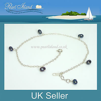 10 inch Peach Freshwater Pearl Sterling Silver Ankle Bracelet 25.5cm Anklet