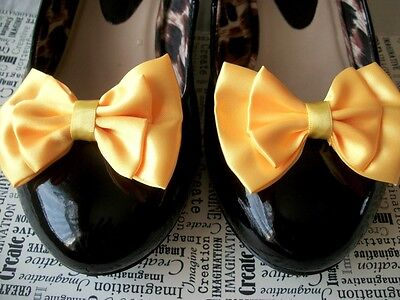 New 1 Pair Yellow Satin Double Bow Shoe Clips Vintage Style Retro Glamour Bows