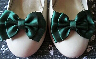 New 1 Pair Forest Green Satin Double Bow Shoe Clips Vintage Style Retro Glamour