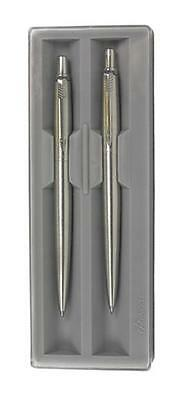 PARKER JOTTER STAINLESS STEEL BALLPOINT & PENCIL SET GIFT BOXED Black Ink