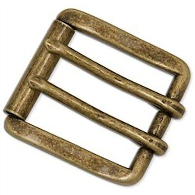 """Messina 2-Prong Roller Buckle 1-1/2"""" Antique Brass Finish 1647-09"""