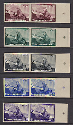 Belgium Sc B209-B213  MNH. 1938 King in Airplane, MATCHED IMPERF SPECIMEN PAIRS
