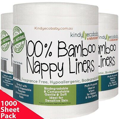 880 Flushable Biodegradable Baby Bamboo Nappy Liner, Disposable Natural, 4 rolls