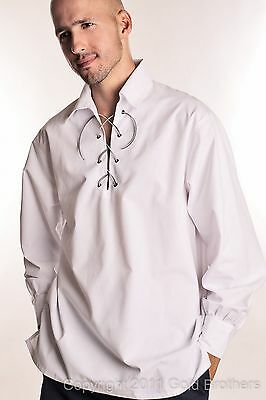 Gents Mens Deluxe Kilt Ghillie Shirt, White, All Sizes