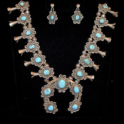 Old Pawn/Estate, Navajo S/S and Turquoise Squash Blossom Necklace & Earring Set