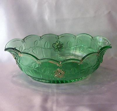 """NORTHWOOD EAPG GREEN """"GOLD ROSE"""" PATTERN CONSOLE FRUIT BOWL"""