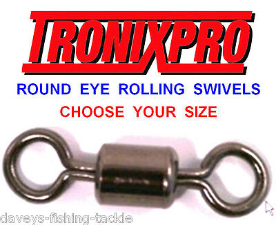 100 Tronix Round Eye Rolling Swivels Size 2/0 1/0 1 2 4 6 8 10 12 Sea Fishing