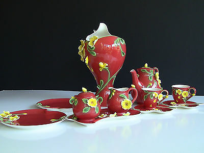 Manchu Rose Savoy Sculptured Porcelain Tea Set & Vase
