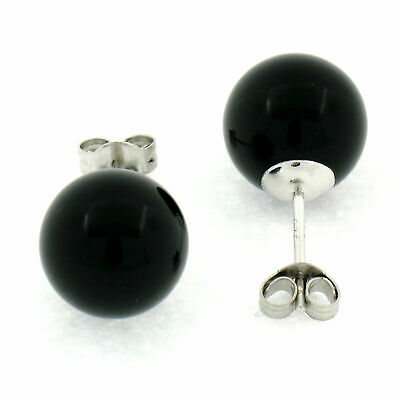 NEW SIMPLE BEAUTIFUL Sterling Silver & Black Onyx 10mm Round Ball Stud Earrings