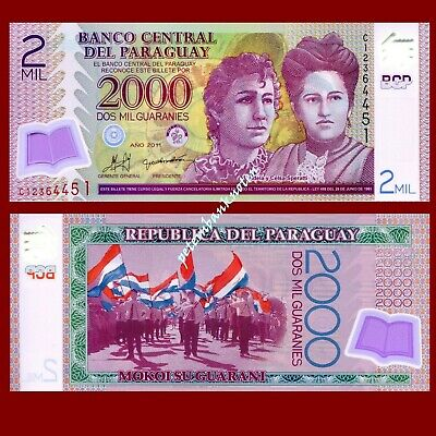 Paraguay 2000 Guaranies 2008 Unc.Pick 228a polymer #