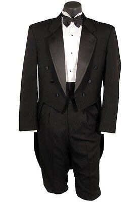 BOYS 3 Black Wool Tuxedo Tailcoat Notch Tux Tail Coat Tails Jacket