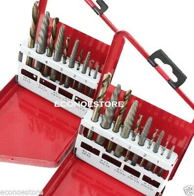 20 Pc Steel Screw Extractor (Left &right Hands Combo) Drill Bits W/case