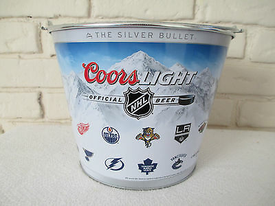 New Coors Light NHL Metal Beer Bucket The Silver Bullet Ice Bucket 5 Qt Cooler