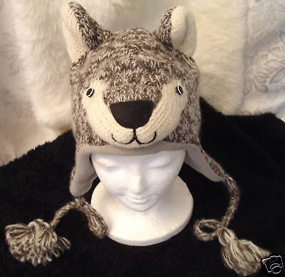 WOLF HAT knit Fleece LINED halloween costume ADULT silver gray grey men women