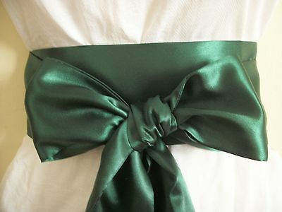 "3.5x100"" FOREST GREEN SATIN FABRIC SASH BELT SELF TIE BOW FOR DRESS BRIDAL PARTY"