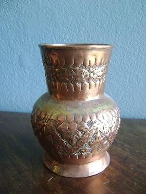 Arts Crafts Repousse Persian Vintage Copper Vase Urn Vase Jardiniere  Hammered