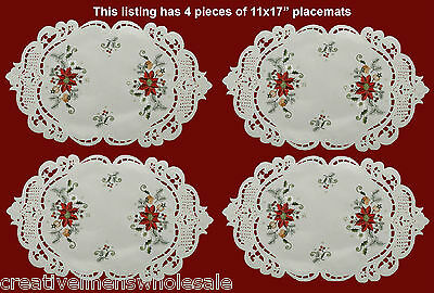 "4PCS Christmas Embroidered Red Poinsettia Placemats 11x17"" oval Holiday #3601"