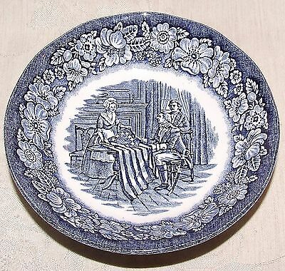 LIBERTY BLUE Staffordshire FRUIT BOWL 1975-81 Betsy Ross Sewing First US Flag