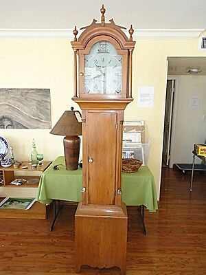 RARE HAND PAINTED NEW ENGLAND MASONIC 19 c.  AMERICAN TALL CASE COUNTRY CLOCK