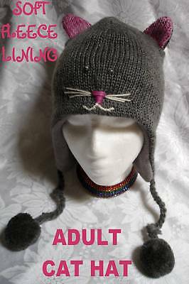 delux CAT HAT ski cap ADULT animal costume FL LINED grey GRAY anime toque beanie