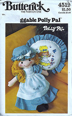 "Butterick 4519 Pattern 26"" Huggable Polly Pal Rag Doll & Clothes - Uncut"