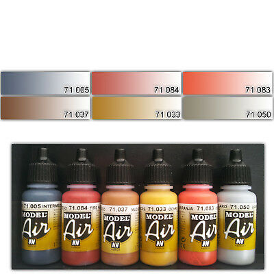 VALLEJO AIRBRUSH FARBEN SET  6 x 17ml ACRYLFARBEN WASSERBASIS MODEL  AIR NEU !