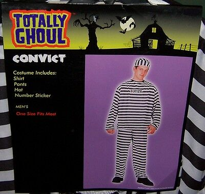 Totally Ghoul Men's Convict Halloween Costume Nwt!  Osfm