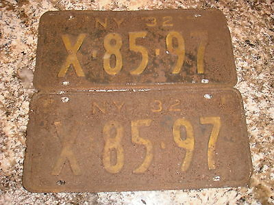 1932 New York License Plates X 85 97