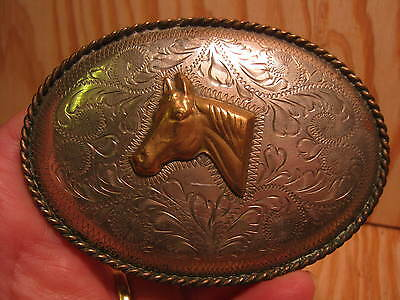Beautiful OLD Horse Head Hand Engraved Belt Buckle MAKE AN OFFER & FREE SHIPPING