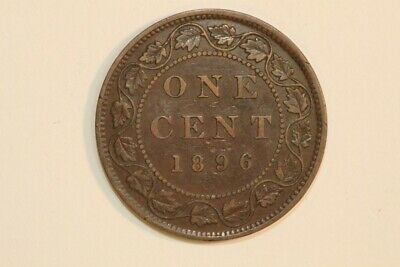 Keen Obverse Die Crack 1896 Canada One Cent Coin KM#7  - About Unc. (CA589)