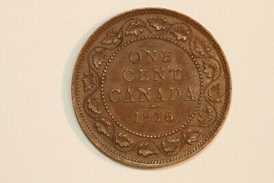 Outstanding 1916 Canada One Cent Bronze KM#21 Coin - About Unc. (CA578)