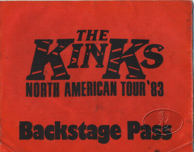 THE KINKS 1983 North American Tour BACKSTAGE PASS