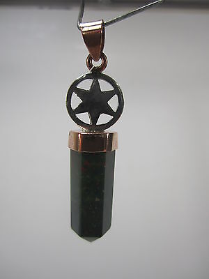 Unique Facetted 6-Sided Bloodstone Point Pendant #5