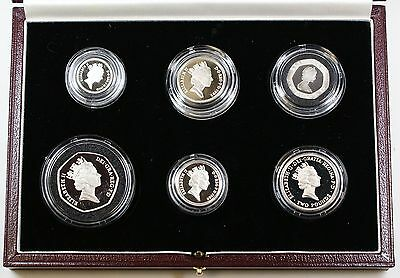 United Kingdom SILVER Proof Piedfort Collection, 6 Gem UK Coins, W/ Cases & COA