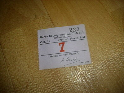 DERBY v PRESTON NE  Central League  16/10/1954  Original Football Ticket