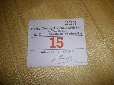 DERBY v SHEFFIELD WED  Central League  12/02/1955  Original Football Ticket