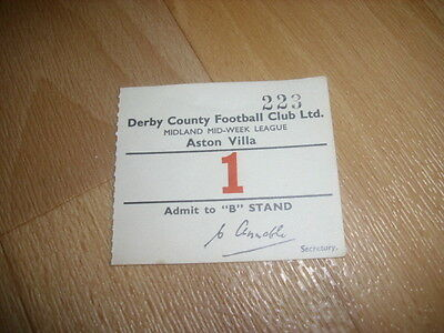 DERBY v  ASTON VILLA  Midland Mid Week Lge 1954/55  Original Football Ticket