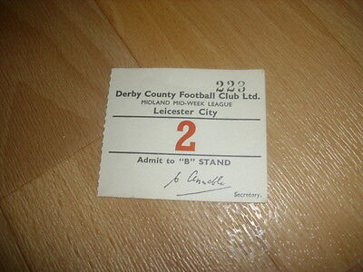 DERBY v  LEICESTER CITY  Midland Mid Week Lge 1954/55  Original Football Ticket