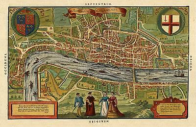 Reproduction Antique Old Sebastian Munster's 1598 Plan Color Colour London Map