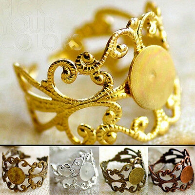 Brass Filigree Blank Ring Base Finding Adjustable Ring Base m49 2pcs