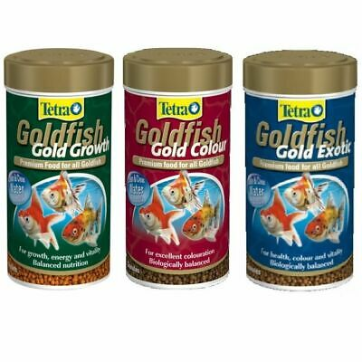 Tetra Goldfish Gold Colour Growth Exotic Fish Food Tank Aquarium Pellet Granules